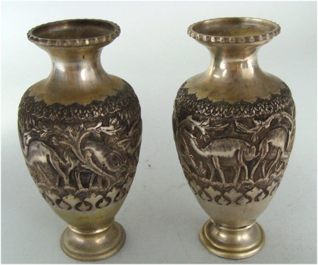 Pair of low grade silver plated Vase