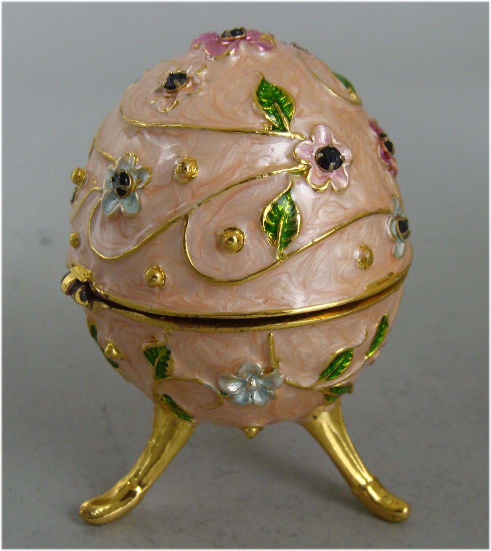 Beautifully Decorated Egg Shaped Silver Jewelry Box
