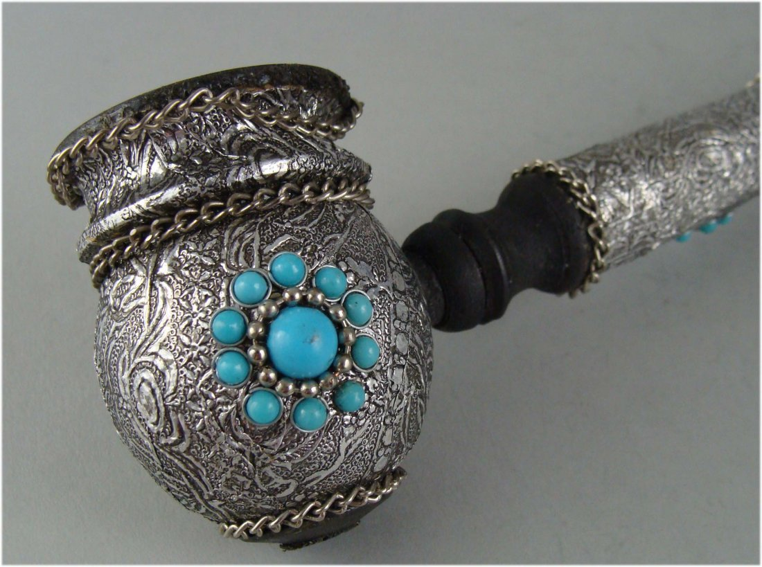 Silver Paper and Turquoise Stone Smoking Pipe cover - 2
