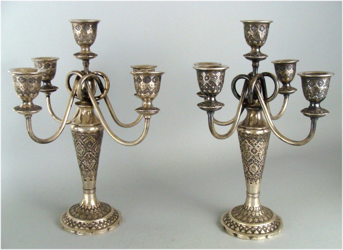 Pair of signed Persian Silver Five candle candelabras