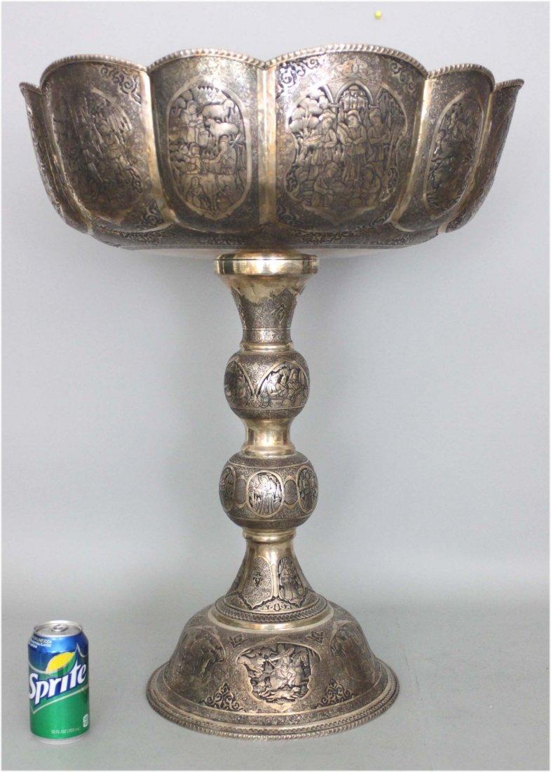 "Magnificent Persian Silver Pedestal Bowl 28"" Tall"
