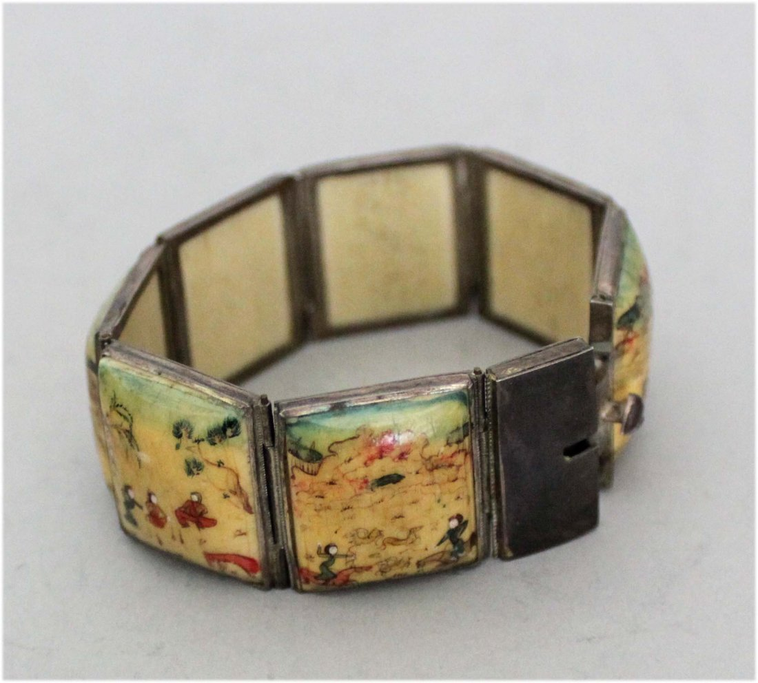 Ivory Persian silver bracelet with enamel