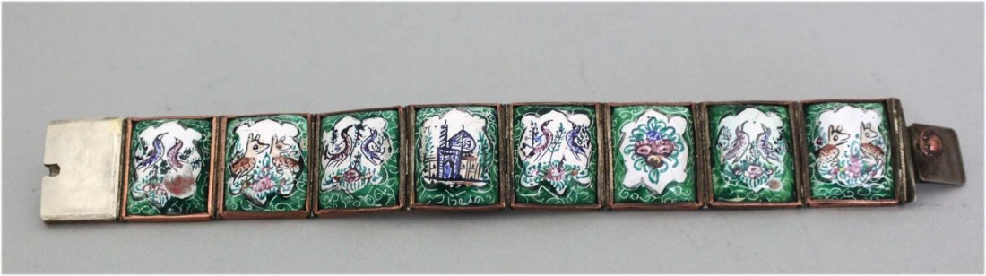 Persian silver bracelet with enamel persian pictures