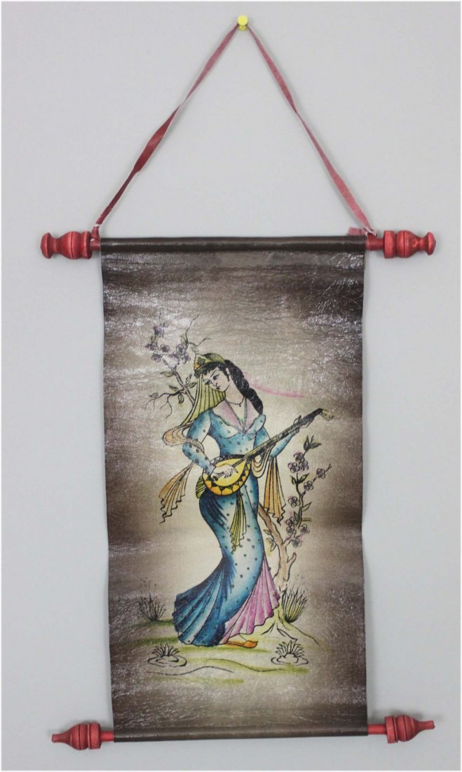 Hand painted persian pictures on pure leather