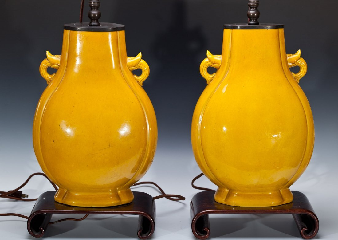 PAIR ANTIQUE CHINESE PORCELAIN YELLOW VASES