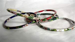 Lot of Five Chinese Cloissone Bangle Bracelets