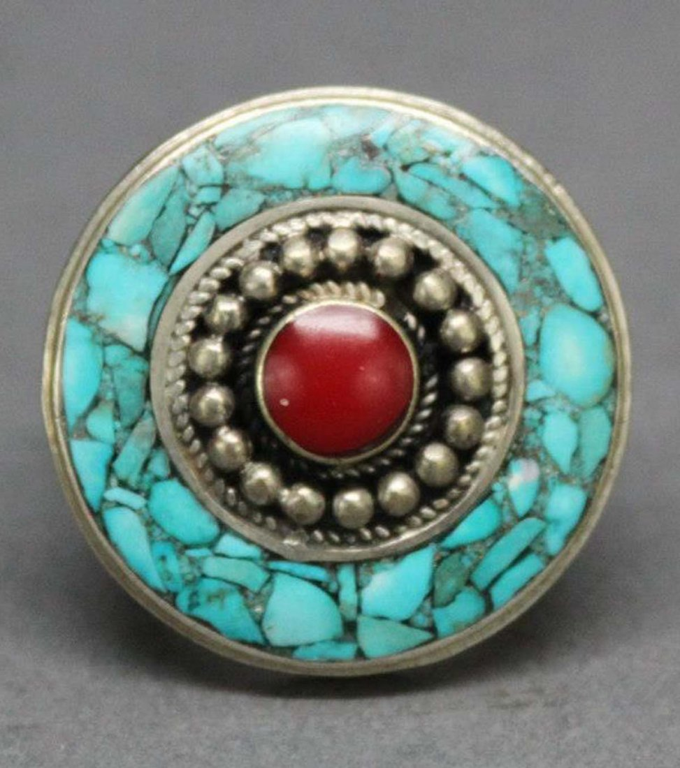 Tibetan Nepal Handcrafted Turquoise Silver Ring