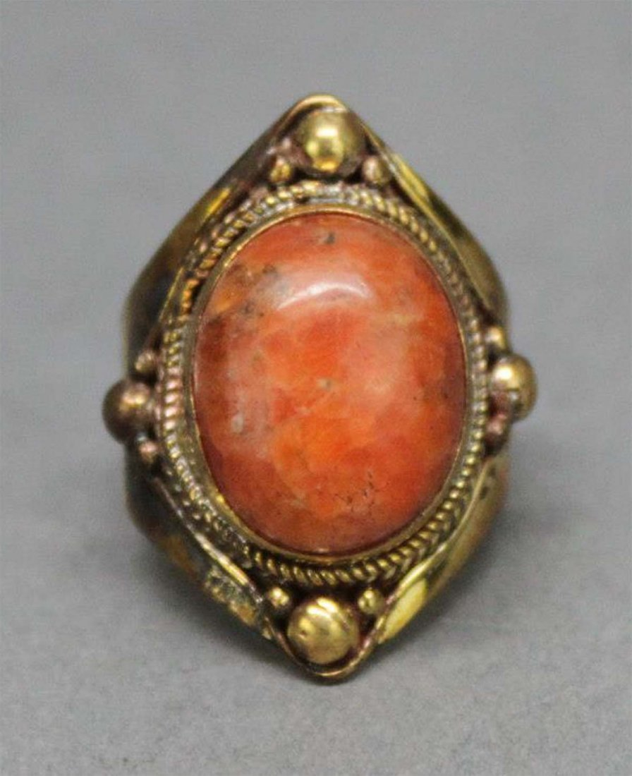 Tibetan Nepal Handcrafted Coral Cabachon Ring