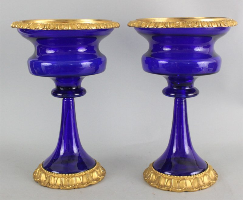 Pr French Louis XV Style Blue Glass Gold Plated Urns