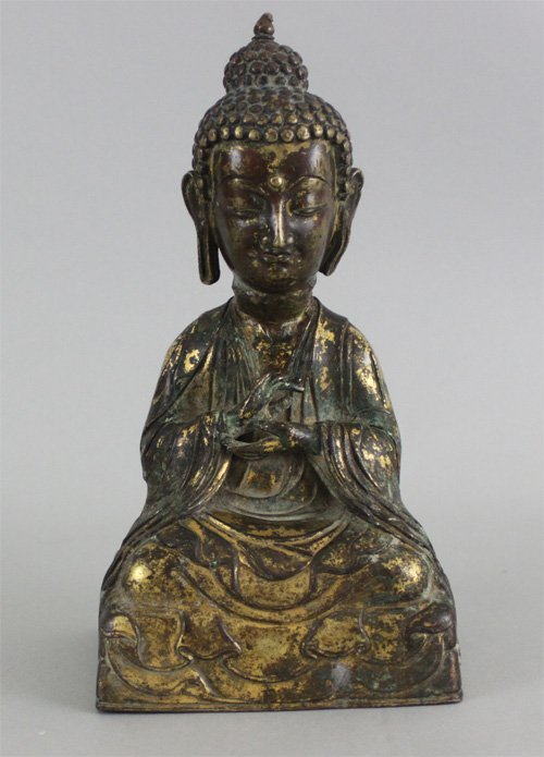 Antique Chinese Carved Gilded Bronze Guanyin