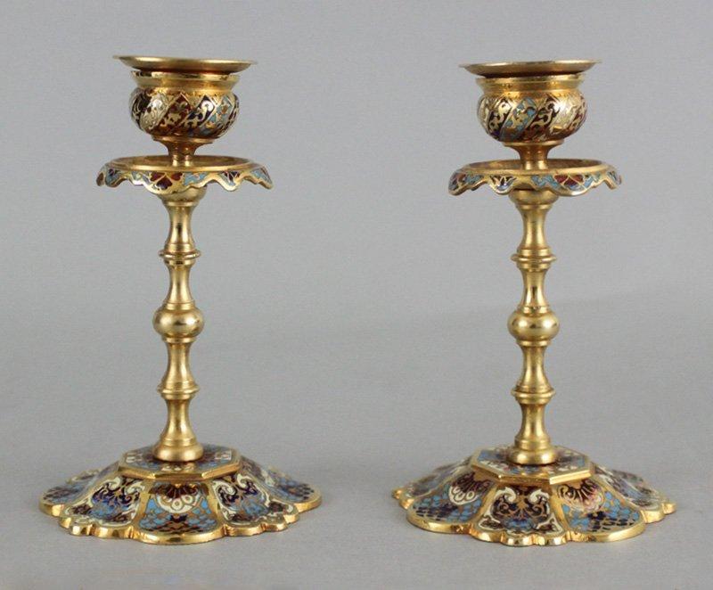 Pair of French Cloisonné Art Nouveau Candlesticks