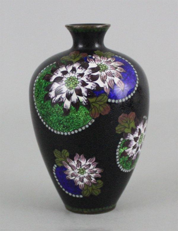Japanese Bronze Cloisonné Vase Floral Design on Black