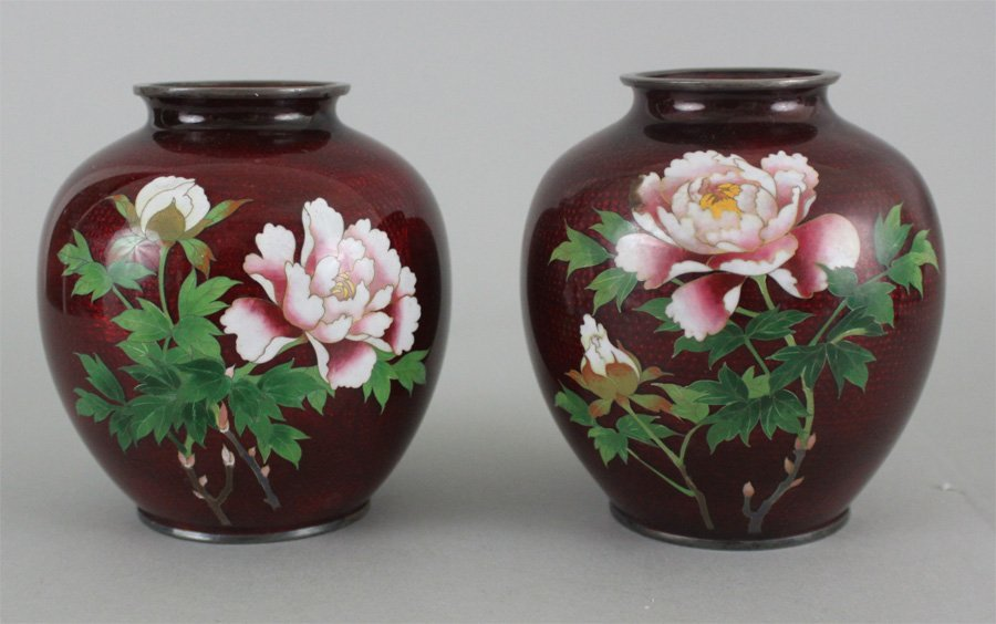Pair of Japanese Silver Body Cloisonné Floral Vases