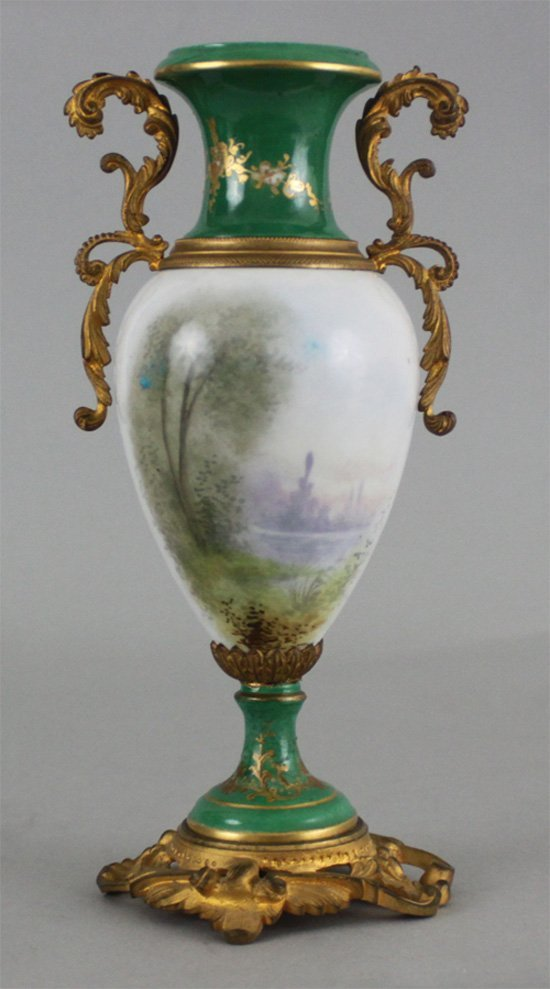 Antique Style French Porcelain Vase with Handles
