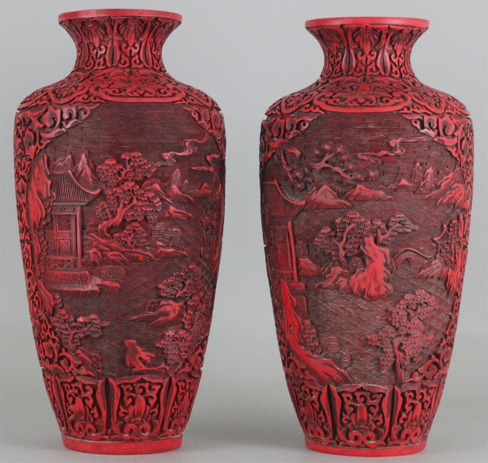 Chinese Pair of Qing Dynasty Carved Lacquer Cinnabar Va