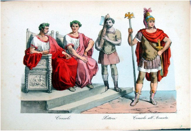 Italy Army Consul Hand Colored 19th Century Engraving