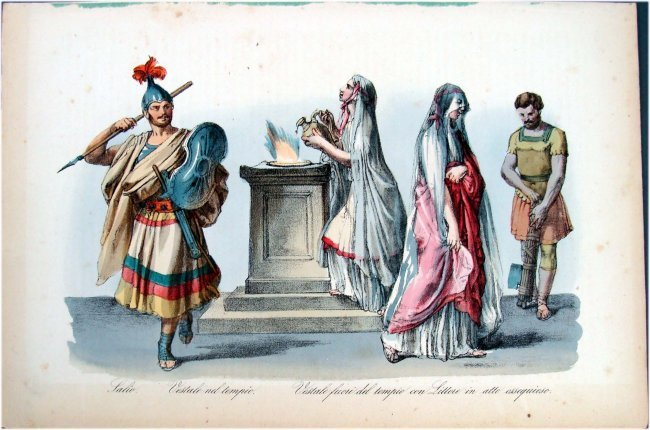 Hand Colored 19th C Costume study with ladies