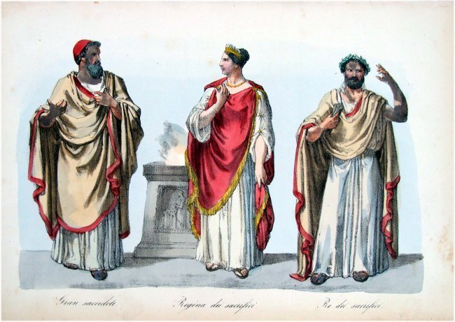 Queen with Priests Costume 19th C Hand Colored Engravin
