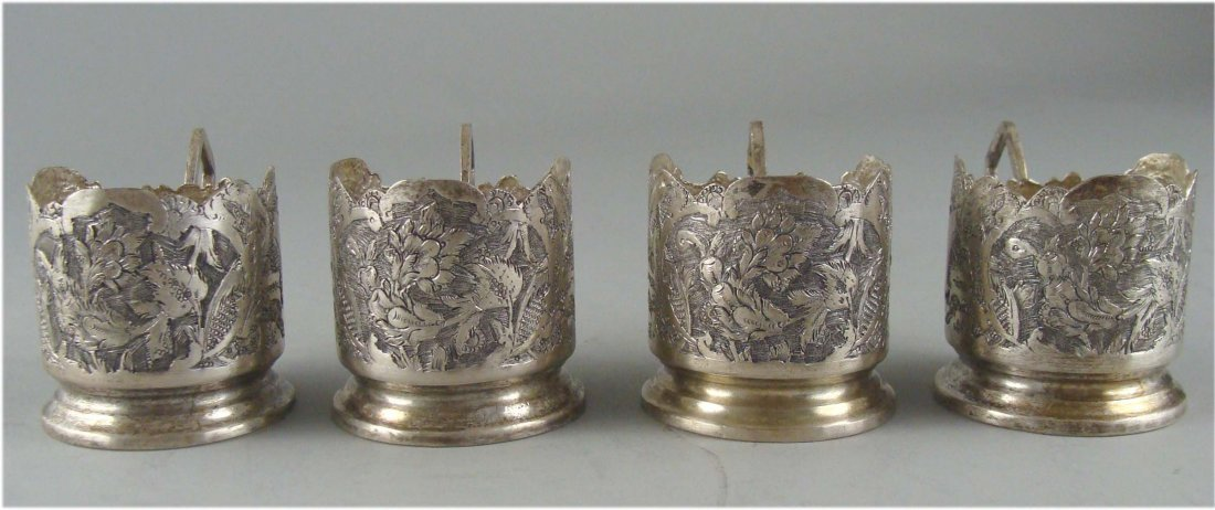 Set of Four Glass Holder from the 1950's