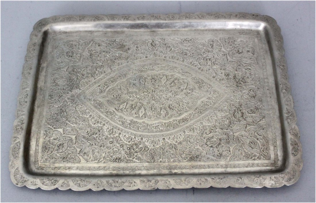 Persian Silver Rectangular Tray with Engraving