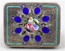 Enamel Silver Compact Blue Inlays Two Ladies