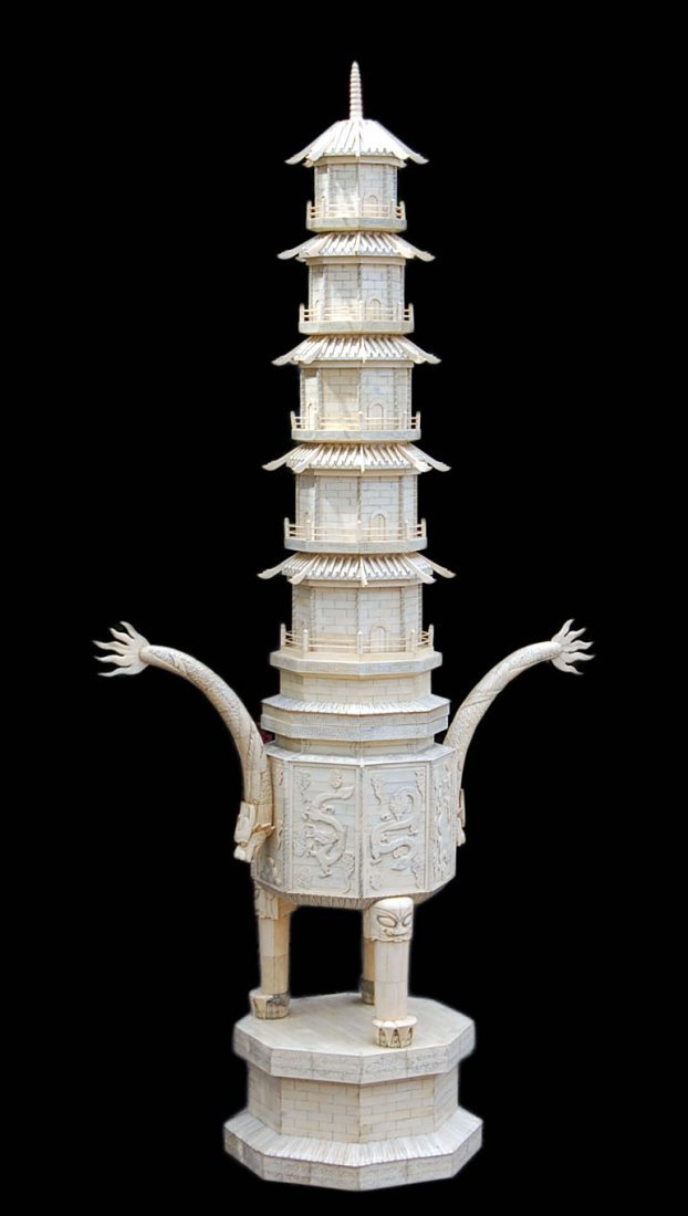 Imperial Tribute Ivory Chinese Dragon Pagoda Tower Qing