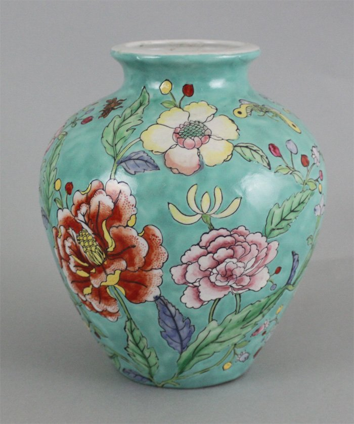 Chinese Porcelain Jar Turquoise Floral Design