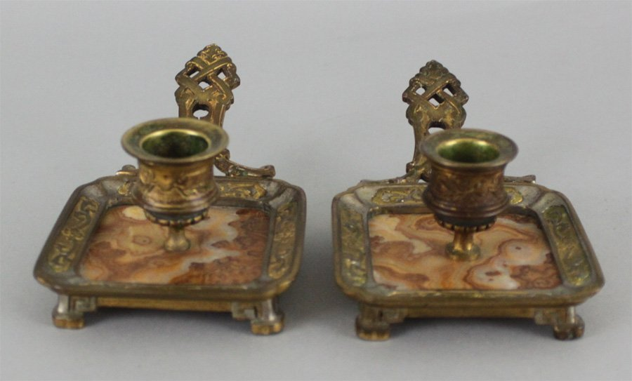 Pair of Antique Bronze & Marble Candlesticks