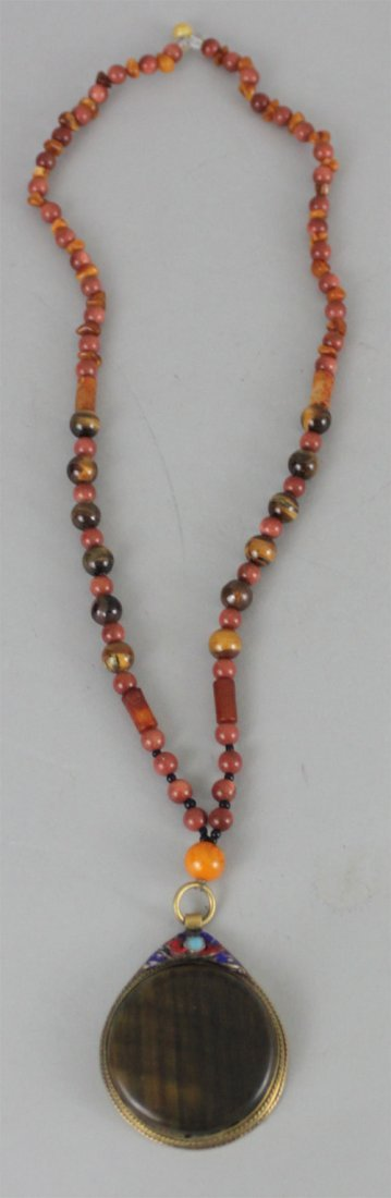 Antique Horn Necklace with Agate & Coral Beads