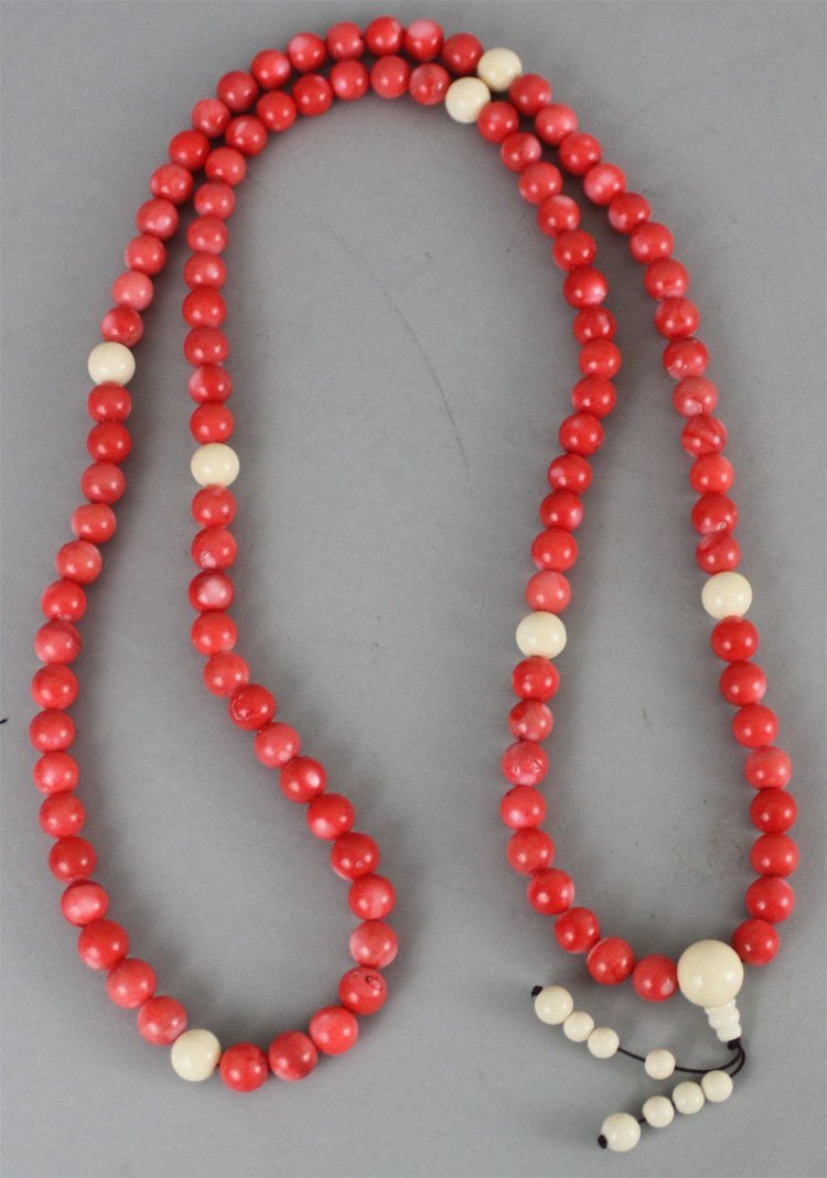 Chinese Coral & Ivory Bead Necklace