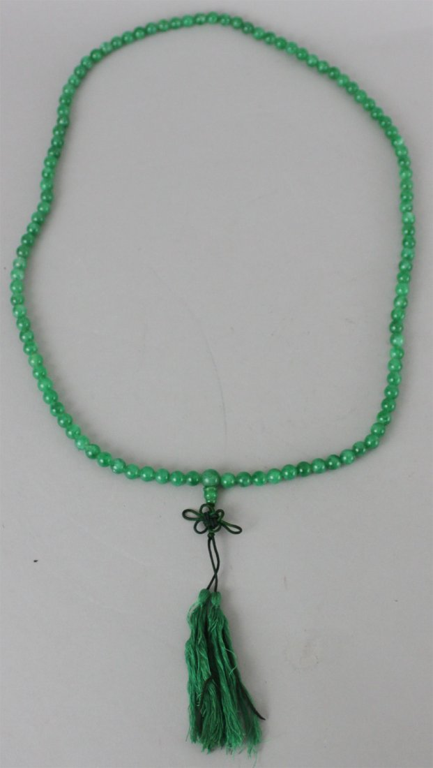 Chinese Green Jade Beads Necklace with Tassle