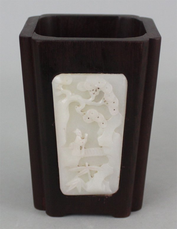 Chinese Rosewood Etched White Jade Brush Pot