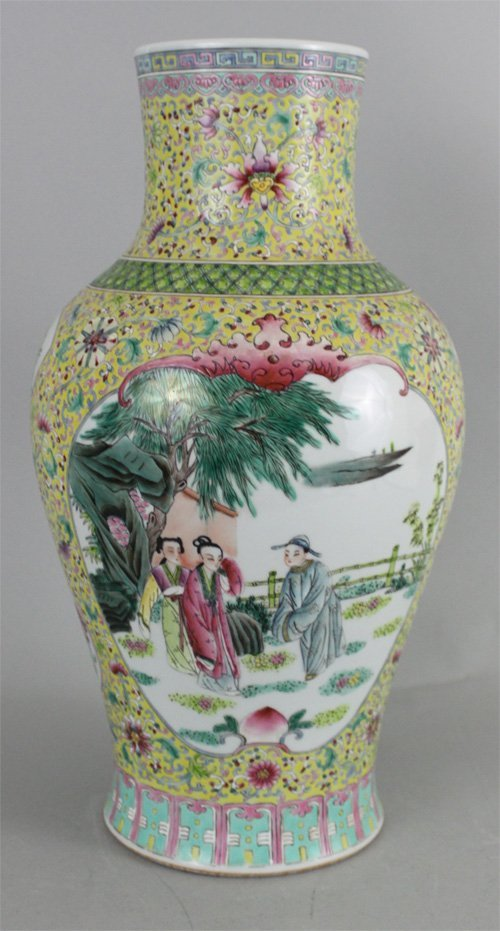 Chinese Porcelain Vase Figures in Courtyard