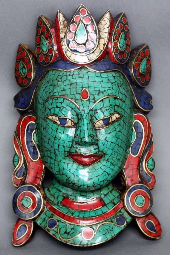 Ups Freight Estimate >> Nepalese Wood Mask Inlaid Mosaic Turquoise Coral & Lapi ...