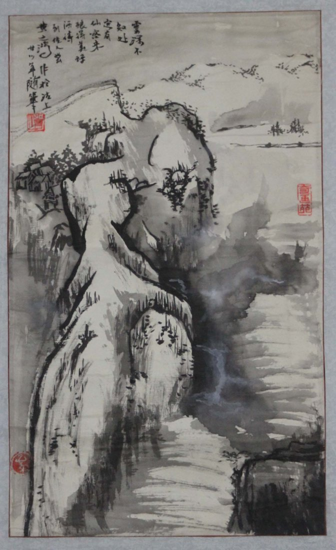 Chinese Pen & Ink Mountain Landscape Scroll Painting