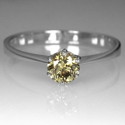 44ct Untreated Natural Champagne Brown Diamond Ring