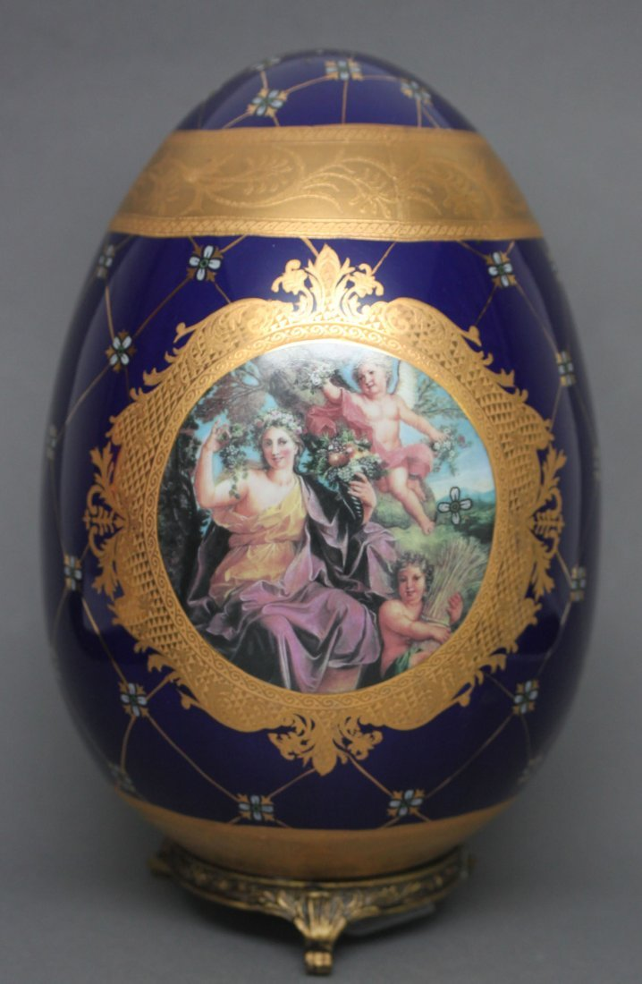 Victorian Porcelain Egg Navy Blue & Gold Cupids
