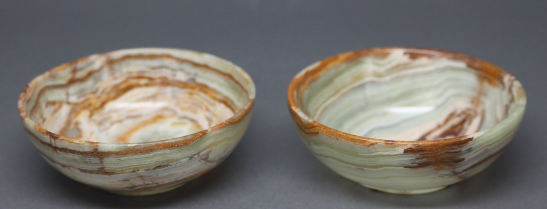 Pair of Onyx Small Bowls Cream Hand Carved Italy