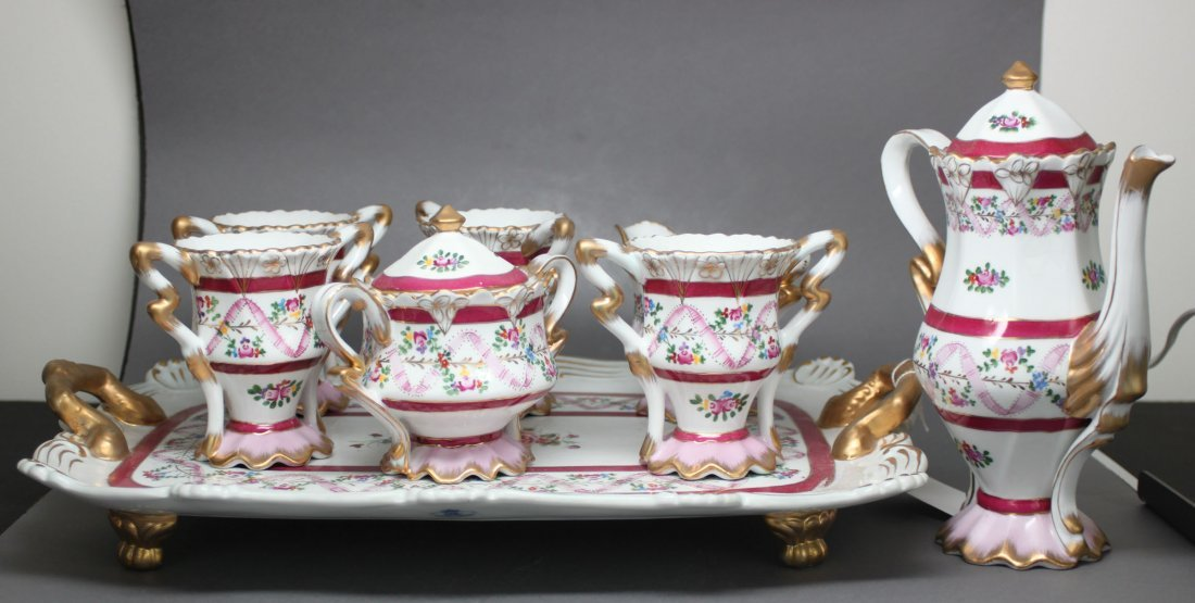 English Porcelain Tea Set of Eight with Tray