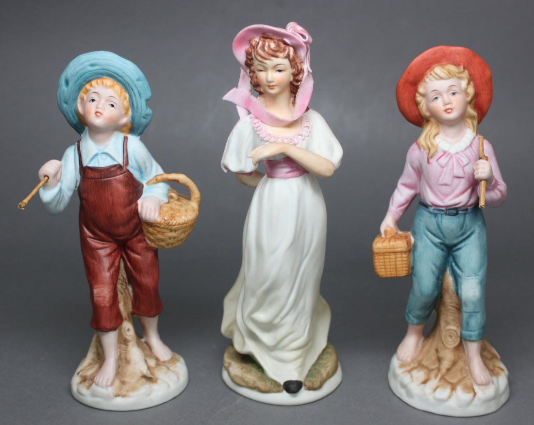 Set of 3 Porcelain Girl and Boy + Girl made in Japan