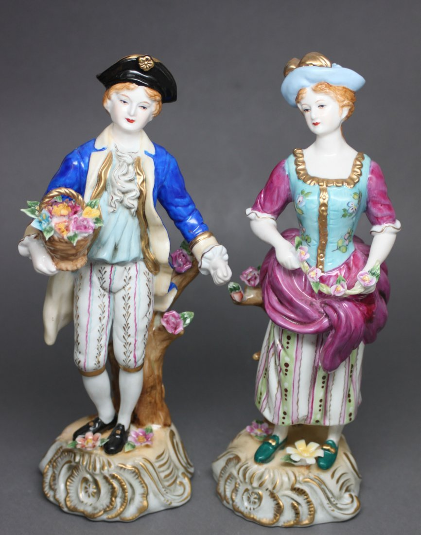 Set of 2 German Porcelain Lady and Gentleman Dresden