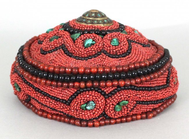 Nepal Ceremonial Turquoise & Coral Hat