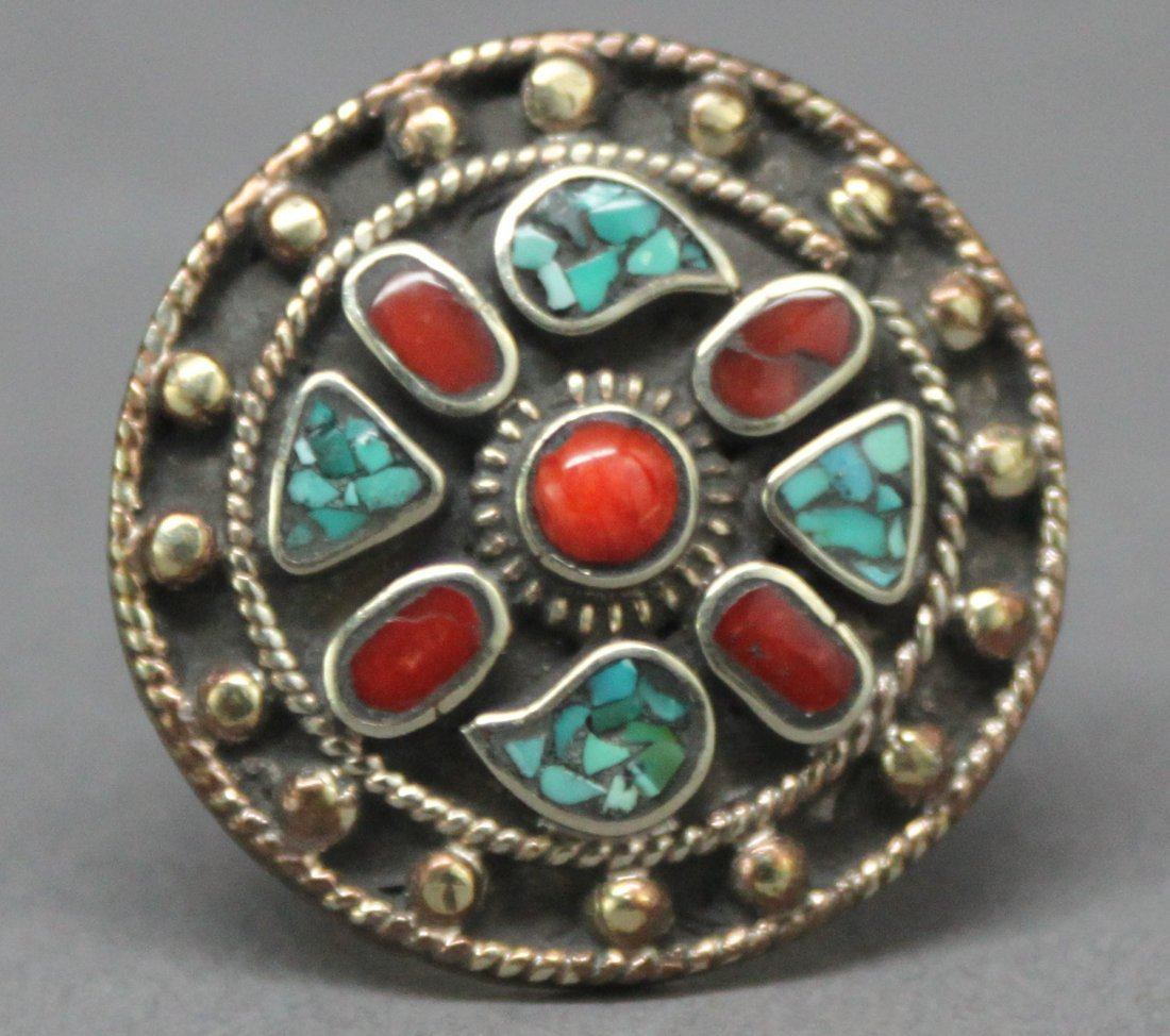 Tibetan Nepal Handcrafted Coral & Turquoise Silver Ring