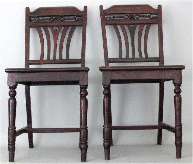Pair Old Chinese Wood Dining Room Chairs