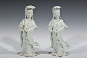 PAIR OF CHINESE BLANC DE CHINE PORCELAIN GUANYIN