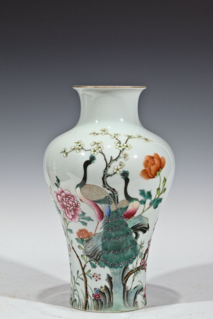 Chinese Antique Porcelain Double Peacock Vase