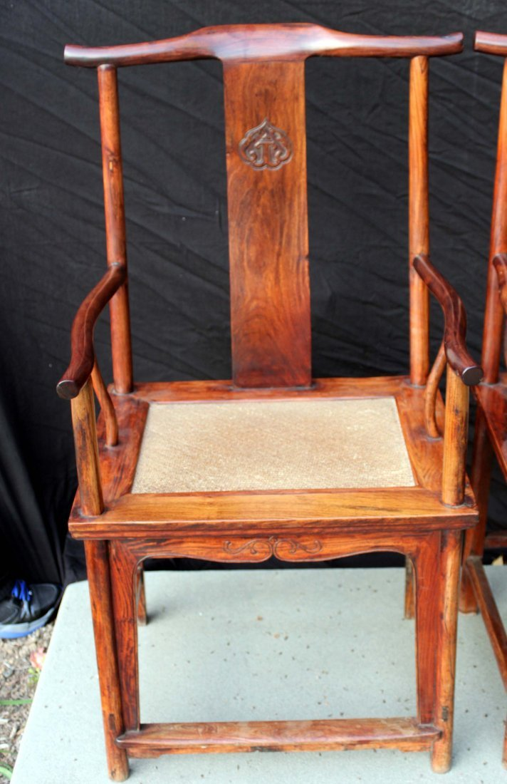 Pair Chinese Huang Hua Li Official Hat Arm Chairs - 2