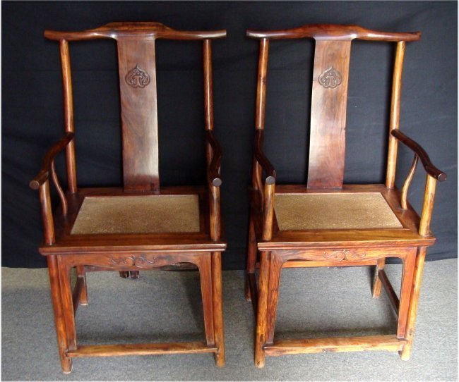 Pair Chinese Huang Hua Li Official Hat Arm Chairs - 6