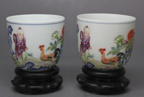 Pair Chinese Qing Dynasty Porcelain Chicken Cups