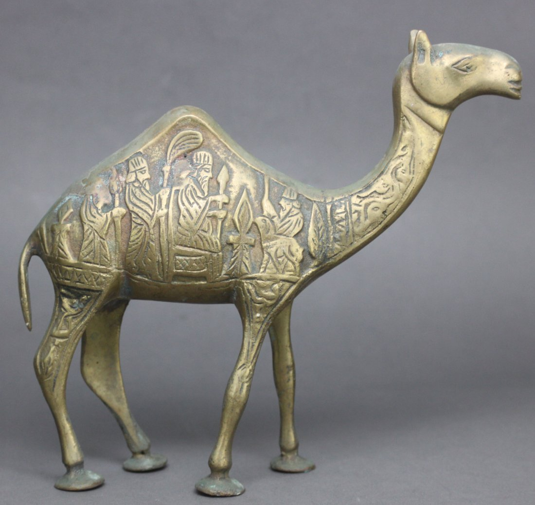 Antique Persian Etched Brass Camel Figurine - 2